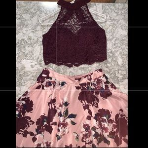 HOMECOMING TWO - PIECE BURGUNDY/PINK FLORAL DRESS